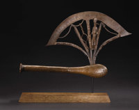 Songe (Democratic Republic of Congo) Ceremonial Axe (kilonda) Steel, copper, wood Height: 13 inches Length: 22 inc