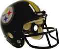 """Football Collectibles:Helmets, Circa 1979 Terry Bradshaw Game Worn Helmet. Gorgeous """"MaxPro""""Pittsburgh Steelers helmet is identical in style to the one w..."""