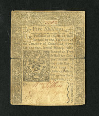 Connecticut May 10, 1770 5s Very Fine. This is a very scarce and some would say rare issue from which only two of the fi...