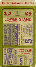 Baseball Collectibles:Tickets, Brooklyn Dodgers Game 5 ticket stub to the 1941 World Series. ...
