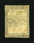 Colonial Notes:Continental Congress Issues, Continental Currency February 17, 1776 $2/3 Fine-Very Fine....