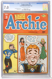 Archie Comics #3 (Archie, 1943) CGC FN/VF 7.0 Off-white to white pages