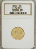 Liberty Half Eagles: , 1844 $5 AU55 NGC. NGC Census: (54/116). PCGS Population (19/38).Mintage: 340,330. Numismedia Wsl. Price for NGC/PCGS coin ...