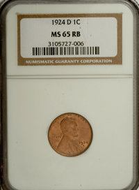 1924-D 1C MS65 Red and Brown NGC. NGC Census: (64/2). PCGS Population (24/0). Mintage: 2,520,000. Numismedia Wsl. Price...