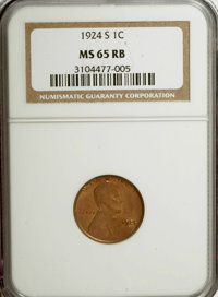 1924-S 1C MS65 Red and Brown NGC. NGC Census: (13/0). PCGS Population (21/0). Mintage: 11,696,000. Numismedia Wsl. Price...