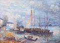 Fine Art - Painting, American, JOHN CLYMER (American, 20th Century). Boats in the Harbor.Oil on canvas. 12 x 16 inches (30.5 x 40.6 cm). Signed lower ...