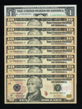 """Small Size:Group Lots, Interesting Group Featuring """"Ladders and Wheels"""". Eight Examples. Gem Crisp Uncirculated.. ... (Total: 8 notes)"""