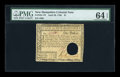 Colonial Notes:New Hampshire, New Hampshire April 29, 1780 $1 PMG Choice Uncirculated 64 EPQ....