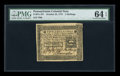 Colonial Notes:Pennsylvania, Pennsylvania October 25, 1775 2s PMG Choice Uncirculated 64 EPQ....