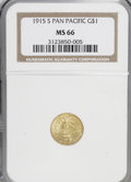 Commemorative Gold: , 1915-S G$1 Panama-Pacific Gold Dollar MS66 NGC. NGC Census:(463/50). PCGS Population (708/47). Mintage: 15,000. Numismedia...