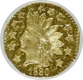 California Fractional Gold, 1880 50C Indian Octagonal 50 Cents, BG-954, Low R.4, MS64 ProoflikeNGC. NGC Census: (2/7). (#7108...
