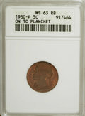 Errors, 1980-P 5C Jefferson Nickel--Struck on a Cent Planchet--MS63 Red and Brown ANACS....