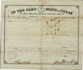 "Autographs:Statesmen, Sam Houston Land Grant Signed. One page, 14.75"" x 12.75"", April 28,1860, Austin, Texas. This official Texas document grants..."