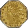 California Fractional Gold, 1881 25C Indian Octagonal 25 Cents, BG-799O, Low R.4, MS64 PCGS.PCGS Population (39/39). NGC Census: (2/9). (#10641)...