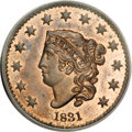 Proof Large Cents, 1831 1C PR64 Red and Brown PCGS....