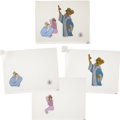 Animation Art:Production Cel, Robin Hood - Prince John, Maid Marian, and Lady KluckAnimation Production Cel Set-Up Original Art (Disney, 1973)....