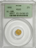 California Fractional Gold: , 1868 25C Liberty Round 25 Cents, BG-806, R.3, MS65 PCGS. PCGSPopulation (53/14). NGC Census: (2/8). (#10667)...