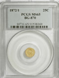California Fractional Gold: , 1872/1 25C Indian Round 25 Cents, BG-870, R.3, MS65 PCGS. PCGSPopulation (16/0). NGC Census: (5/2). (#10731)...