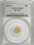 California Fractional Gold: , 1873/2 50C Indian Octagonal 50 Cents, BG-941, High R.5, MS63 PCGS.PCGS Population (5/11). (#10799)...