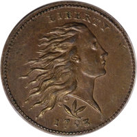 1793 1C Wreath Cent, Vine and Bars MS64 Brown PCGS....(PCGS# 1347)