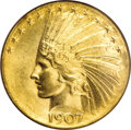 Indian Eagles, 1907 $10 Wire Rim MS63 NGC....