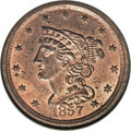 Half Cents, 1857 1/2 C MS64 Red NGC....