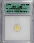 California Fractional Gold: , 1871 50C Liberty Round 50 Cents, BG-1030, R.6, AU58 ICG. NGCCensus: (0/1). PCGS Population (2/7). (#10859)...