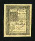 Colonial Notes:Delaware, Delaware January 1, 1776 18d Gem New....