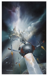 "Boris Vallejo - ""Big Bang"" Spaceship and Asteroid Painting Original Art (1983)"