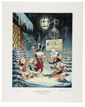 "Original Comic Art:Miscellaneous, Carl Barks - ""A Christmas Trimming"" Miniature Lithograph Limited Edition Print #14/595 (Another Rainbow, 1999).... (Total: 2 Items)"