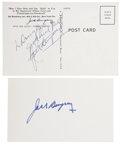 Boxing Collectibles:Autographs, Jack Dempsey Signed Postcard and Index Card Lot of 2.... (Total: 2items)