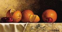 LORAN SPECK (American, b. 1943) Still Life: Oranges and Cherries Oil on board 7 x 13 inches (17.8