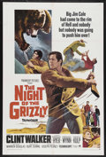 "Movie Posters:Adventure, The Night of the Grizzly (Paramount, 1966). One Sheet (27"" X 41"").Adventure. Starring Clint Walker, Martha Hyer, Keenan Wyn..."