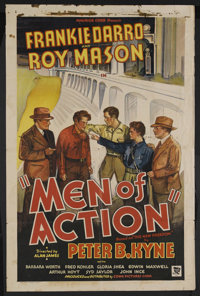 "Men of Action (Conn, 1935). One Sheet (27"" X 41""). Action Drama. Starring Frankie Darro, Roy Mason, Barbara Wo..."