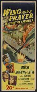 "Movie Posters:War, Wing and a Prayer (20th Century Fox, 1944). Insert (14"" X 36"").War. Starring Don Ameche, Dana Andrews, William Eythe, Charl..."