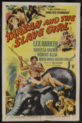 "Movie Posters:Adventure, Tarzan and the Slave Girl (RKO, 1950). One Sheet (27"" X 41"").Adventure. Starring Lex Barker, Vanessa Brown, Robert Alda, De..."
