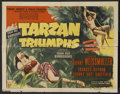 "Movie Posters:Adventure, Tarzan Triumphs (RKO, 1943). Half Sheet (22"" X 28"") Style A.Adventure. Starring Johnny Weissmuller, Frances Gifford, Johnny..."