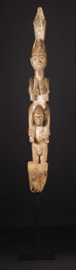 African: , Yoruba (Nigeria). House Post. Wood, traces of paint. Height: 58 ½ inches Width: 7 ¾ inches Depth: 8 ¾ inches. The verand...