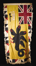 """African: , Fante (Ghana). Asafo Flag. Cloth, pieced and appliquéd. Height: 36inches Width: 69 ¾ inches. These flags """"adorn villages..."""