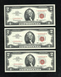 Small Size:Legal Tender Notes, Fr. 1514* $2 1963A Legal Tender Star Notes. Three Consecutive Examples. Gem Crisp Uncirculated.. This is the first time we h... (Total: 3 notes)