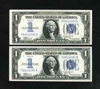 Fr. 1606 $1 1934 Silver Certificates. Two Consecutive Examples. The first note grades Choice CU and the second one grad...