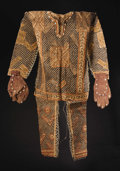 African: , Pygmy (?) (Democratic Republic of Congo). Body Suit with AttachedGloves. Bark cloth, paint, vines, cowry shells. Height: 46...