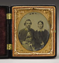 Military & Patriotic:Civil War, Cased 1/6th Plate Ambrotype of Captain John West and His Wife. West, of the Georgia Volunteers, served on the staff of Gener...