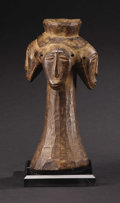 African: , Hemba (Democratic Republic of Congo). Four-faced Power object. Wood. Height: 9 ½ inches Max. Diameter: 5 inches. Peoples...