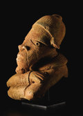 African: , Nok (Nigeria). Male Half Figure with Crossed Arms. Ceramic. Height:9 inches. Nok sculpture (conservatively ca. 500 B. C. ...