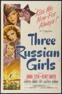 "Three Russian Girls (United Artists, 1943). One Sheet (27"" X 41""). Comedy"
