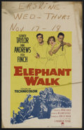"Movie Posters:Adventure, Elephant Walk (Paramount, 1954). Window Card (14"" X 22"").Adventure...."