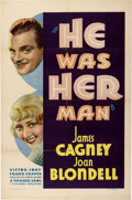 "Movie Posters:Crime, He Was Her Man (Warner Brothers, 1934). One Sheet (27"" X 41"")...."