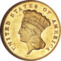 Three Dollar Gold Pieces, 1877 $3 AU58 Prooflike NGC....