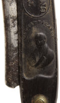 Political:3D & Other Display (pre-1896), William Henry Harrison: Rare Horn-Handled Straight Razor with Portrait and Log Cabin....